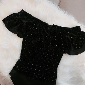 Off the Shoulder Velvet Bodysuit